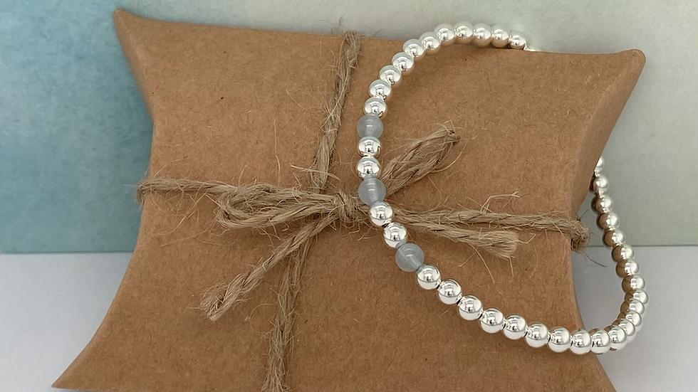 FJ Jewellery Aquamarine Bead Bracelet