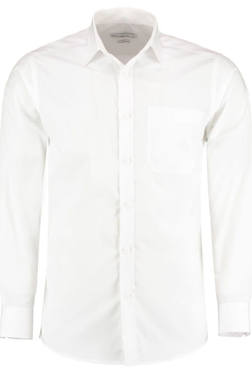 Derby College Mens Long Sleeve Shirt White