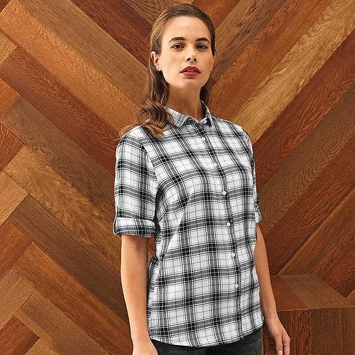 Ginmill Check Cotton Long Sleeve Shirt Womens