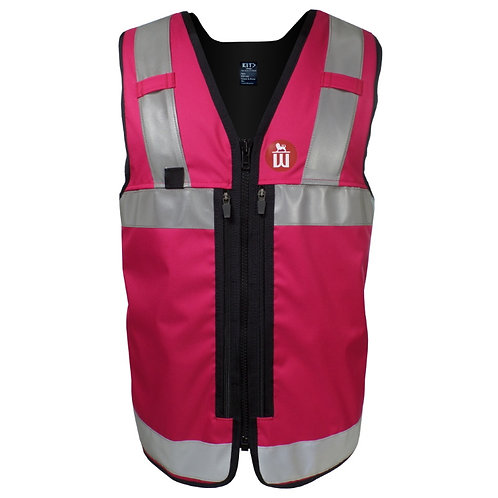 Magenta Equipment Vest with Reflective Tape and Zip Pockets