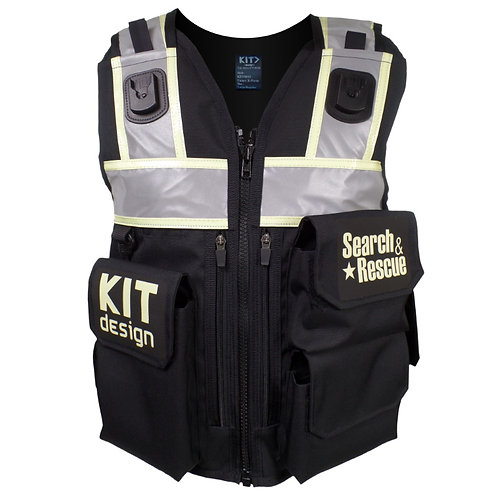 Black Equipment Vest Reflective and Self-Illuminating