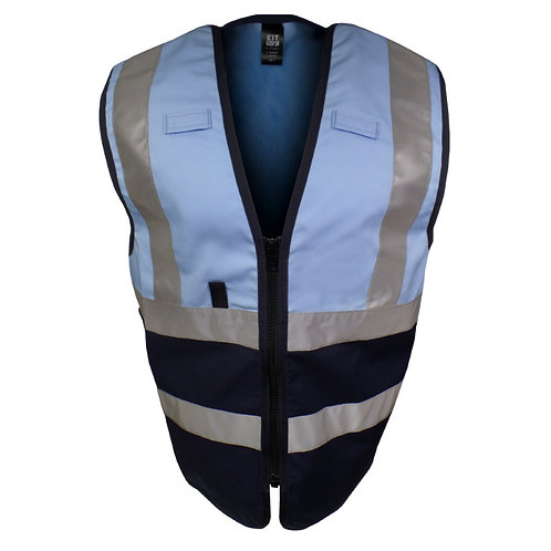 Work Tabard Vest in Sky Blue and Navy