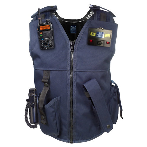 Equipment vest custom made in UK navy with radio and camera