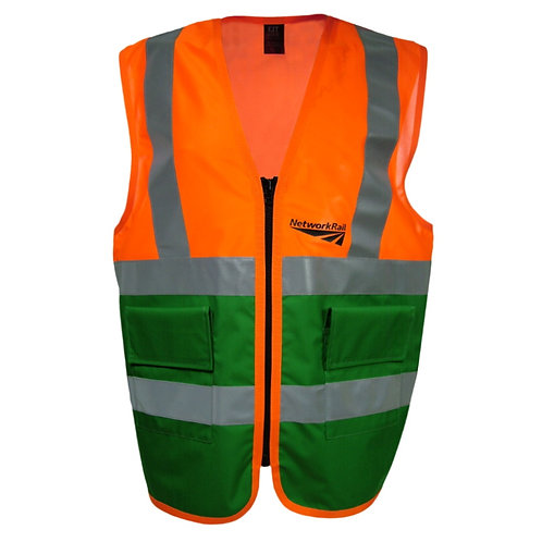 Orange and Green Tabard Reflective Work Vest