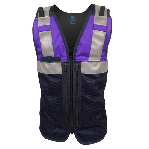 Purple Equipment Vest with Zip Pockets