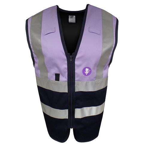 Purple Navy Tabard Work Vest with Reflective Tape