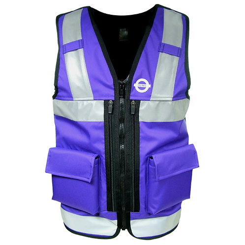 Purple Equipment Vest with Reflective Tape and Large Pockets