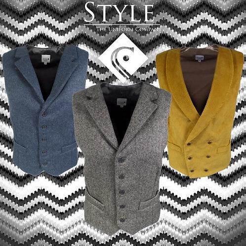 Style Uniforms Herringbone Tweed Waistcoat Mens