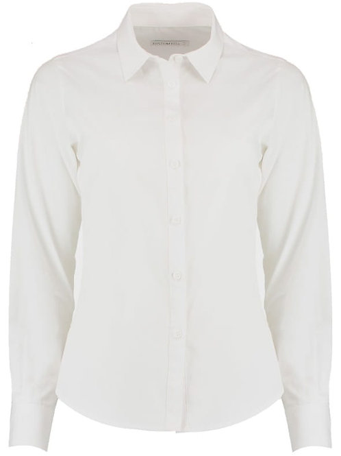 Derby College Ladies Long Sleeve Blouse White