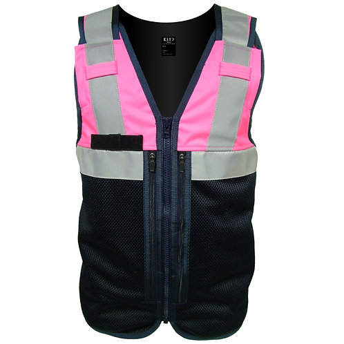 Blue or Pink Equipment Vest with Reflective Tape and Pockets