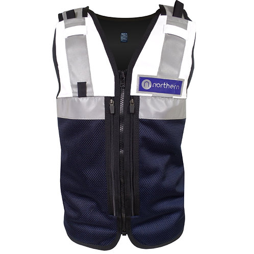 White Navy Equipment Vest Zip Pockets