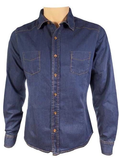 Style Uniforms Premium Long Sleeve Denim Shirt Mens