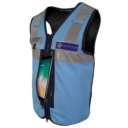 Blue Quick Rip Equipment Vest with iPad pockets