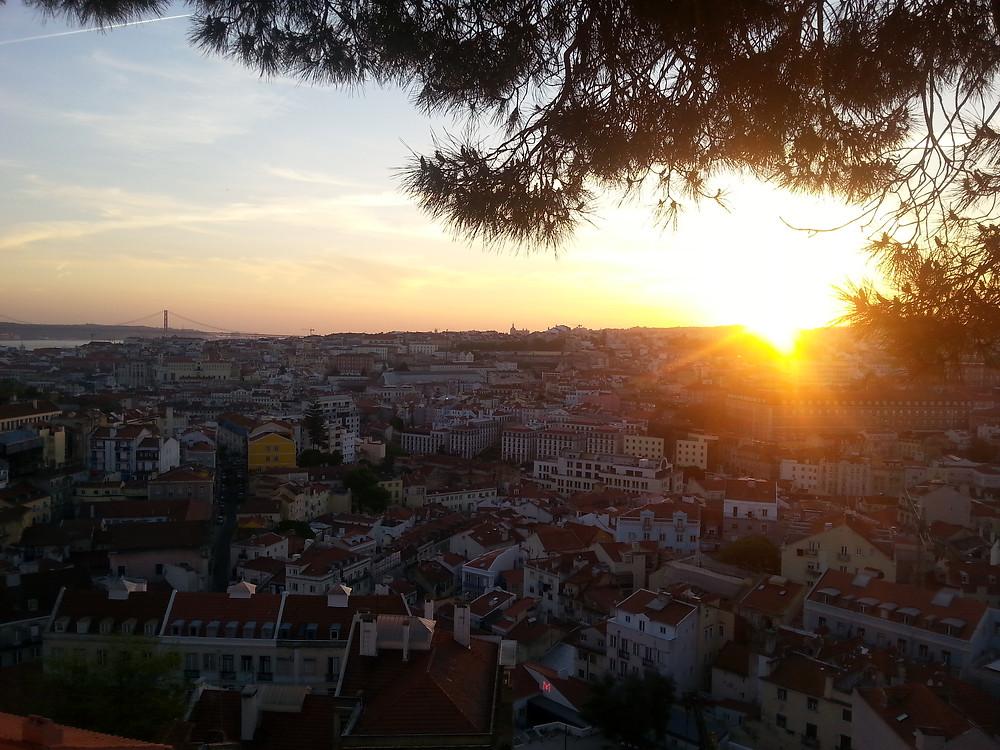 Lissabon Sonnenuntergang Miradouro da Graça