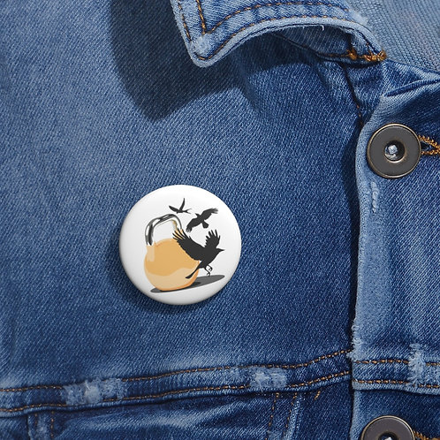 Yellow kettlebell fly Custom Pin Buttons