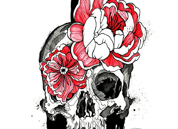 Skull and Peonies