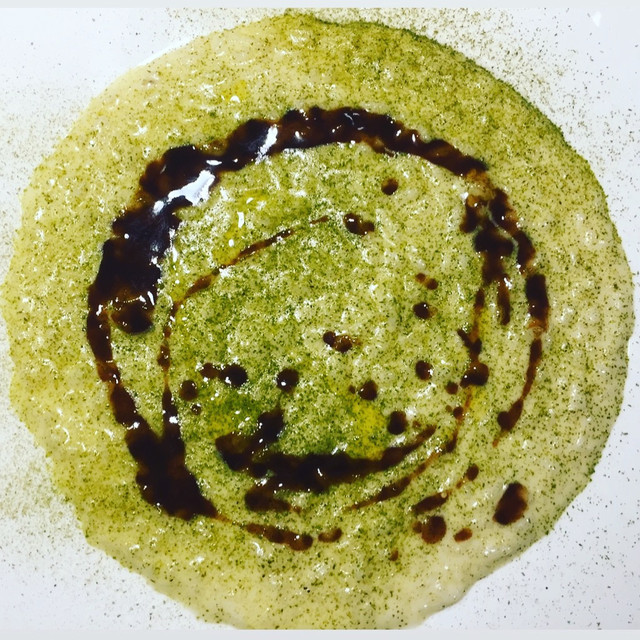 Riso Mantecato al Parmigiano Stravecchio, Polvere di Rosmarino e Fondo di Vitello
