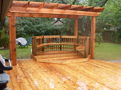 Deck with seating and pergola