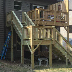 stair addition to second level deck