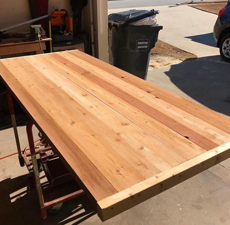 custom cedar top table