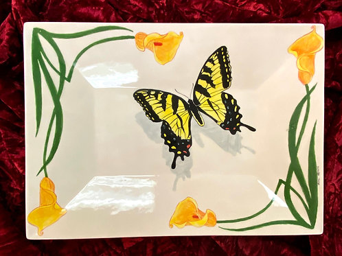 Butterfly and calla lilies ceramic serving platter