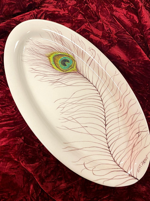 Peacock feather ceramic serving platter