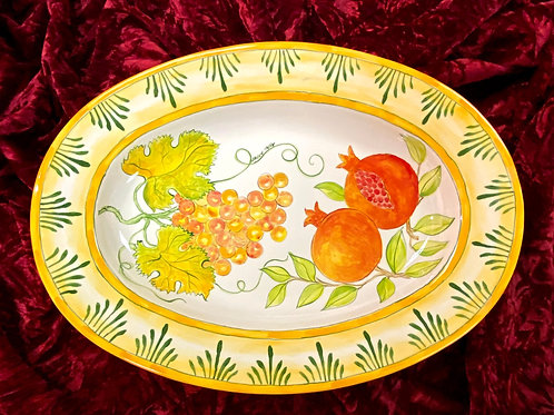 Grapes and pomegranates ceramic serving platter