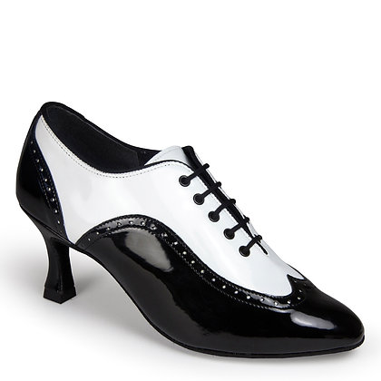 IDS Ladies Brogue - White Patent / Black Patent