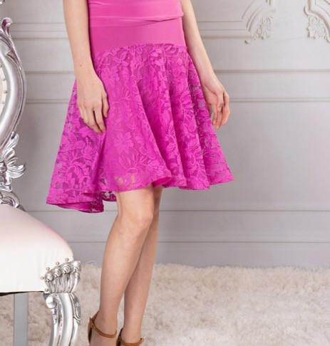 a6b5a6fef S914 Short full lace skirt; This mid-length ballroom ...