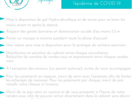 Mesures d'hygiène et de sécurité mises en place au cabinet liées à l'épidémie de COVID 19