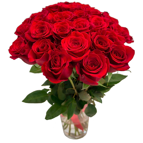 21 красная роза премиум в вазе