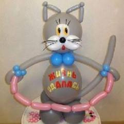Кот из воздушных шаров, подарок из шаров, фигура из шаров