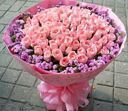 75 голландских роз и статица