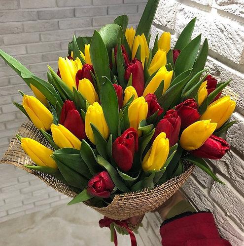 Желто красные тюльпаны