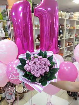 Шары и цветы на подарок 11 летней девочке