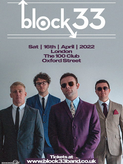 Gig Ticket - Sat 16th April 2022 - The 100 Club