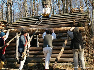 Construction of huts for George Washington at Jockey Hollow Morristown New Jersey