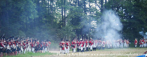 Line of British troops firing muskets