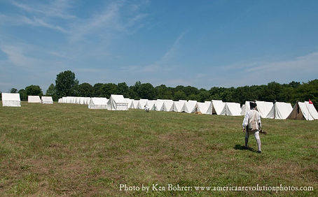 Rows of white tents in the American military camp at Monmouth New Jersey