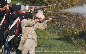 Firing muskets outside of Fort Mifflin Pennsylvania
