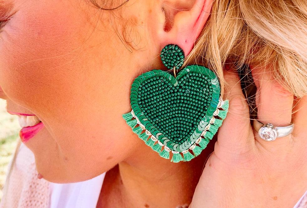 FEELING LUCKY- emerald green heart earrings