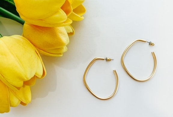 BENT THE RULES- gold bent hoops
