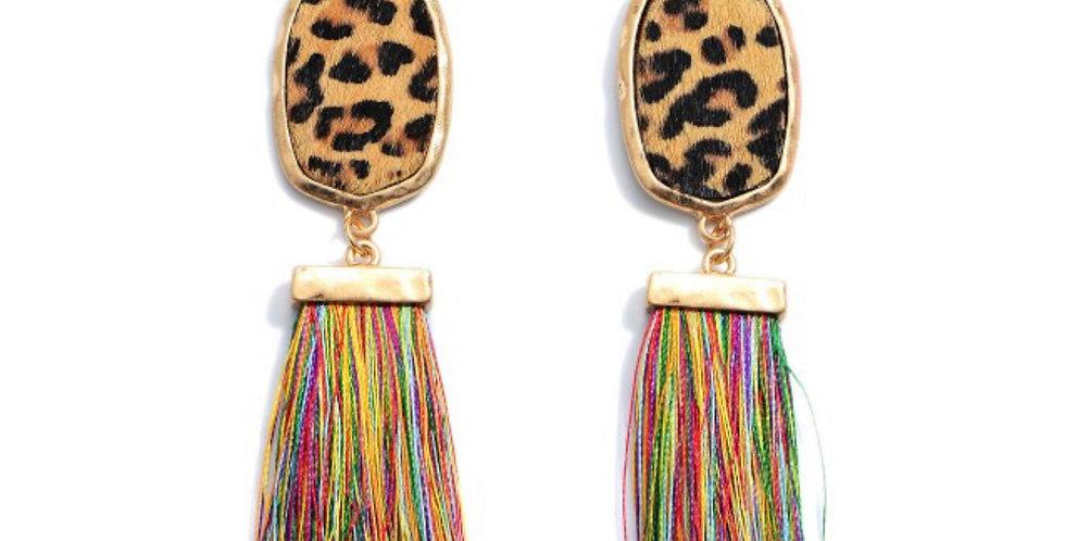 THE CATS MEOW- leopard + multi tassel