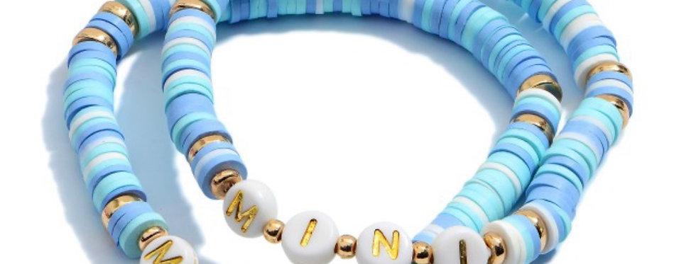 MAMA + MINI- letter bracelets blue multi