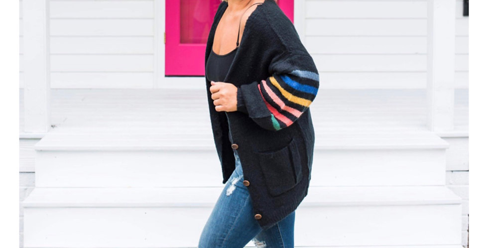 DREAMING IN COLOR- black and multi colored cardigan