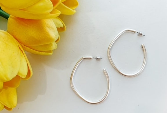 BENT THE RULES- silver bent hoops