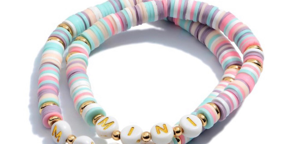 MAMA + MINI- letter bracelets purple + aqua