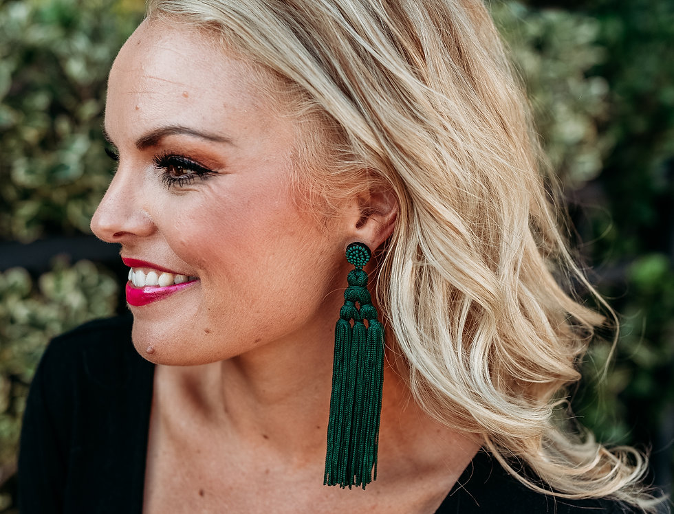HANG IN THERE- forest green tassel earrings