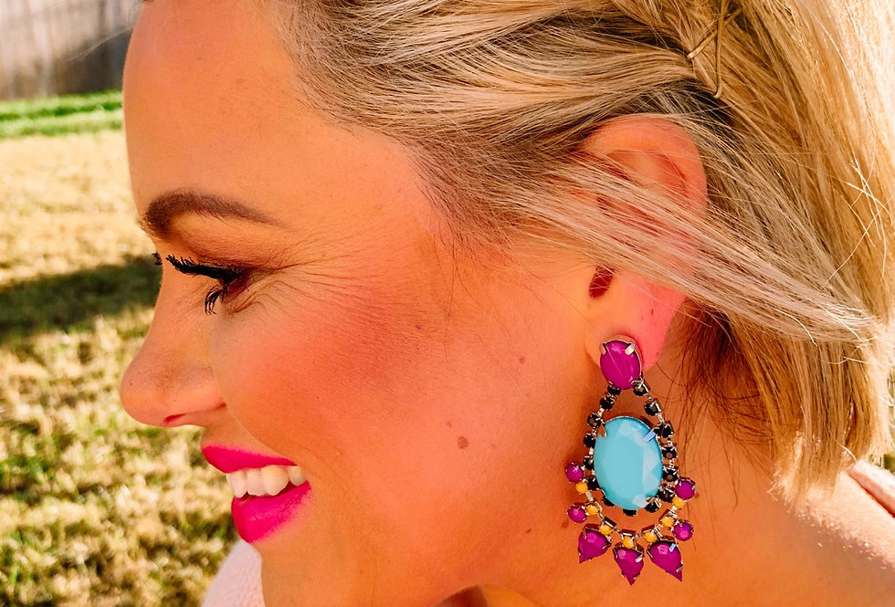 YOU'RE A REAL GEM- purple + turquoise drop earrings