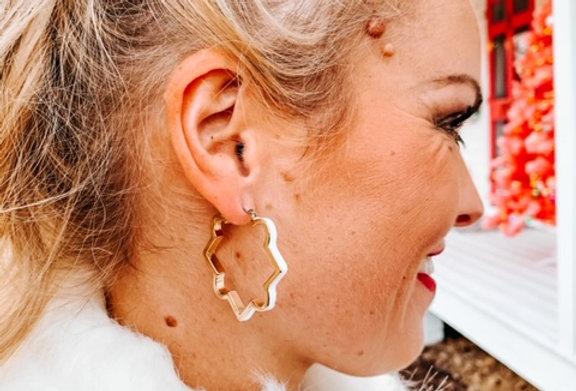COOKIE CUTTER -white geometric earrings
